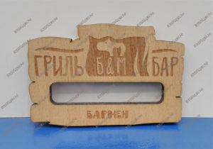 Бейджик фигурный деревянный с окном
